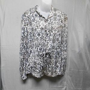 Merona white tan black design top M